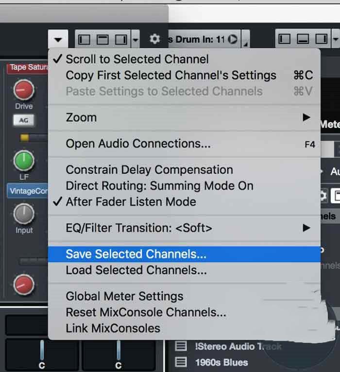 7- تنظیمات مربوط به هر کانال میکسر را به طور جداگانه ذخیره کنید.
