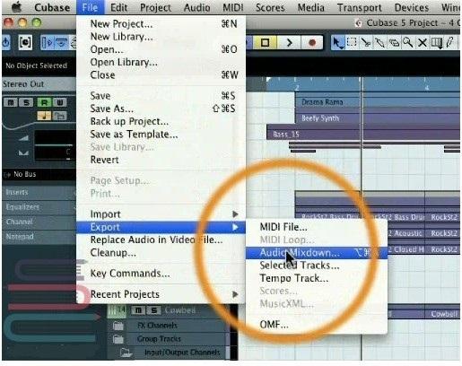 مرحله دوم Audio Mixdown